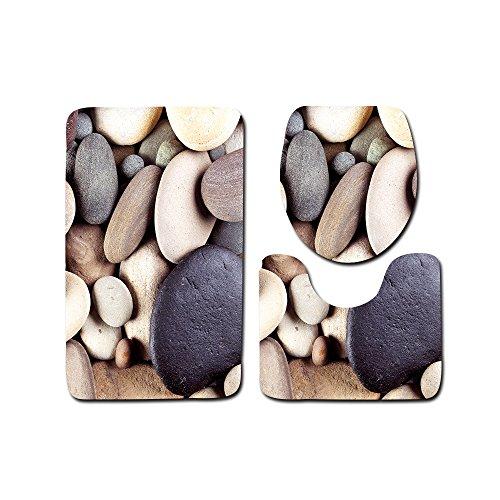 Teppich Set 4 Teiliges (Ya Jin 3-teilig Badematte Teppich Sets Sandbeach Print Ständer Teppich + Deckel WC-Deckelbezug + Badteppich Black Stone)
