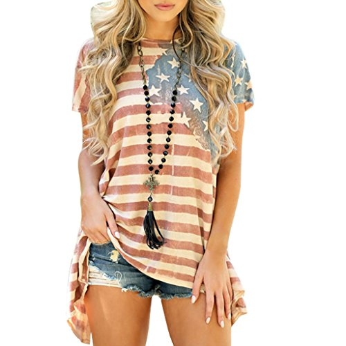 Nankod Women's American Flag Gestreifte Kurzarm Lose Bluse T-Shirt Patriotische Unregelmäßige Seitensaum Tunika Tees Tops (XL) (Shirt Damen Flag American)