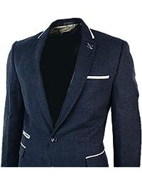 Mens Blue Navy Blazer Jacket Cream Velvet Trim 1 Button Fitted Smart Casual Retro