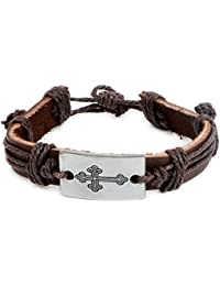Johareez Handcrafted Brown Leather Holy Cross Bracelet For Men