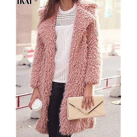 Inverno donna colore solido multi-colore Cappotti e giacche , Sexy / Casual / lavoro su misura manica lunga Collar,M,Rosa