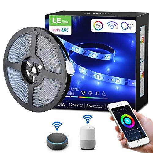 LE Smart LED Strip Set, RGB & Dimmbares weißes Licht, funktioniert mit Alexa und Google Home, wasserdicht IP65, 5M 5050 SMD LED Streifen, 300 LED, Flexibel LED Band, Netzteil und Controller enthalten