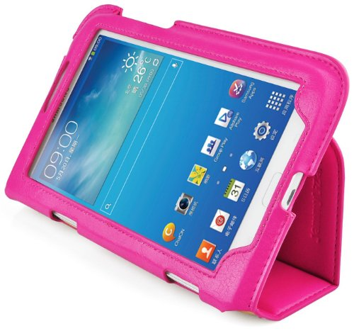 JAMMYLIZARD | Custodia Smart Case Ultra Slim Cover iTrio per Samsung Galaxy Tab 3 7.0, FUCSIA