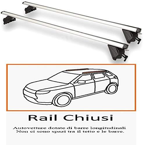 Edge Barre PORTATUTTO PREASSEMBLATE in Alluminio per Auto con Rails INTEGRATI Chiusi