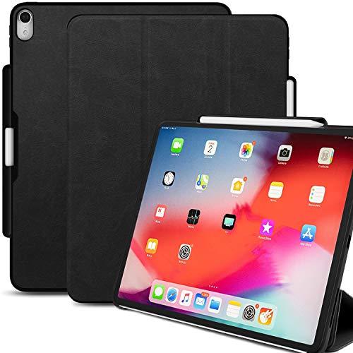Khomo Schutzhülle für iPad Pro 27,9 cm (11 Zoll), mit Stifthalterung, doppeltes Design, Schwarz Apple iPad Pro 11 inch Leather Black