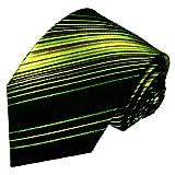 Lorenzo Cana - Handgefertigte Business Marken Krawatte aus 100% Seide - feine Streifen schwarz grün - 36082