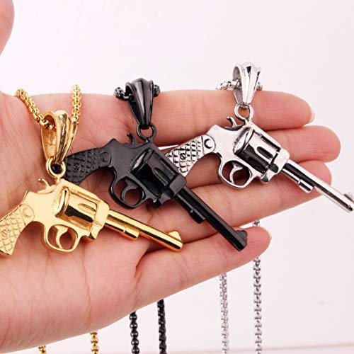 Modow 316L Titan Edelstahl Bling Westside Gangster Hip Hop Rap Star Revolver Form Kette Halskette, Länge 22,6 Zoll,Black