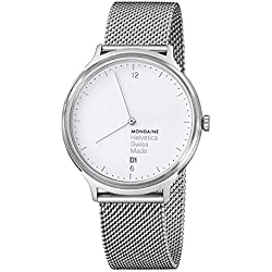 Mondaine Unisex-Armbanduhr Helvetica No1 Light 38mm Analog Quarz MH1.L2210.SM
