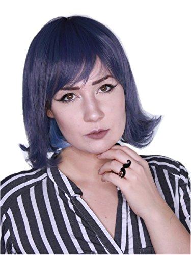 nkel Blaue Graue Haare mit Pony Schwungvoll Glatt Bob Zweifarbig Kurze Alltag Perücke ()