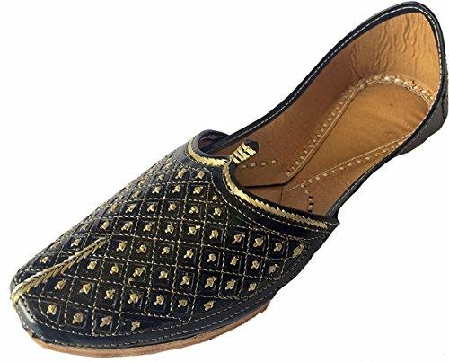 Step n style uomo piatto nero matrimonio scarpe khussa tradizionale indiano in pelle mocassino punjabi jutti, nero (black), 45