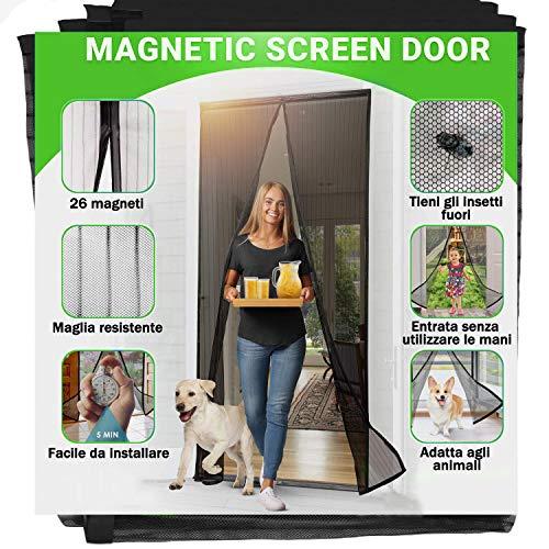 Zanzariera Magnetica Jellas Per Porte - Dimensioni 90 X 210 cm, Totalmente Magnetica, Si Chiude Da Sola, Impedisce Agli Insetti Di Entrare - Non Accorciabile (Nero)