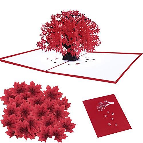 3D Pop Up Karte Maple Autumn Fall Tree 3D Karte für Geburtstag Mothers Day Anniversary Valentine mit 50 Stück künstliche Ahornblätter -