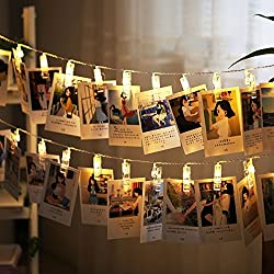 Rocita 2.2M 20 LED USB Photo Clip Guirlandes Lumineuse Eclairage Lumière Chaîne de Lampes Pince pour Accrocher des Photos Carte et Mémos Blanc Chaud