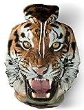Leapparel Funy Long Sleeve Sport Pullover Hoodie Sweatshirt für Herren und Damen Coole Grafik Design Kleidung Tiger 2XL / 3XL