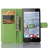 Tasche für Nokia Microsoft Lumia 950 XL Hülle, Ycloud PU Ledertasche Flip Cover Wallet Case Handyhülle mit Stand Function Credit Card Slots Bookstyle Purse Design grün