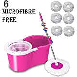 DAIVE's Mop Floor Cleaner with Bucket Set Offer with Big Wheels for Best 360 Degree Easy Magic Cleaning, Pink with 6 Microfiber