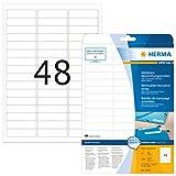 Herma 10005 Beschriftungsstreifen Etiketten ablösbar, wieder haftend (63,5 x 16,9 mm) weiß, 1.200 Klebeetiketten, 25 Blatt DIN A4 Papier matt, bedruckbar, selbstklebend, Movables