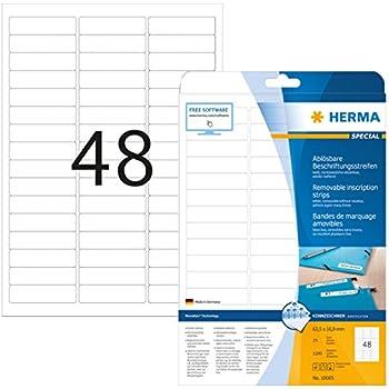 HERMA 10315 Rettangolo con angoli arrotondati Rimovibile Bianco 100pezzo i etichetta autoadesiva