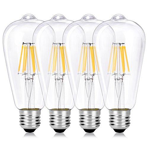Wedna 4-Pack LED Filamento E27 Edison Lampadina, 6W ST64 vintage Lampadina (60W Incandescente Equivalente) a risparmio energetico Bianco caldo 2700K, Non dimmerabile, Vetro trasparente