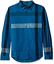 GUESS Mens Shirt, Canyon Plaid Moroccan Blue, L