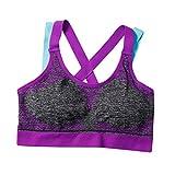 Alwayswin Damen Yoga Sport BHS nahtloser Yoga-BH Lässige Unterwäsche mit Kreuzriemen Sport Bra Bustier Fitness BH Atmungsaktiv Ohne Bügel Bra Body Make-up