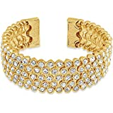 Bling Jewelry Flexible Crystal Gold Plated Bridal Bangle Bracelet Brass