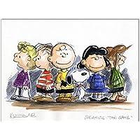 Original Feder und Aquarell auf Aquarellkarton: Peanuts The Gang / 24x32 cm