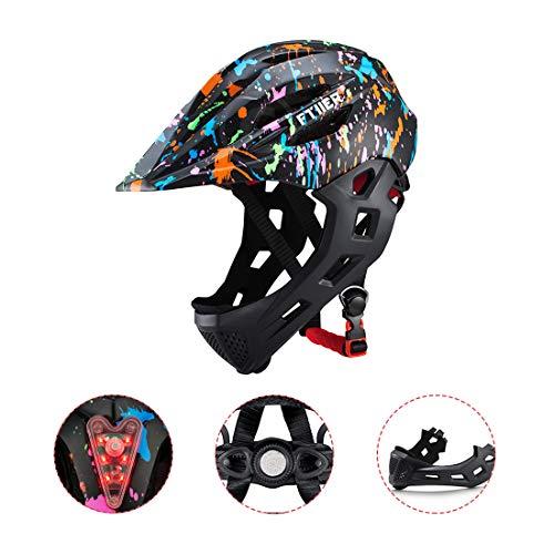 Bambino Casco per Bicicletta E Bambini Casco Integrale Bici MTB BMX con Mento Staccabile Ragazzi E Ragazz
