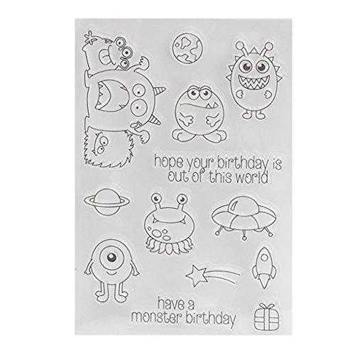 (ECMQS Monsters DIY Transparente Briefmarke, Silikon Stempel Set, Clear Stamps, Schneiden Schablonen, Bastelei Scrapbooking-Werkzeug)