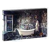 Badezimmer | V1720315 | Bilder auf Leinwand | Wandbild im XXL Format | Kunstdruck in 120 cm x 80 cm | Bild Abstrakt Stillleben Vintage