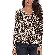MISS MOLY Mujeres Tops Moda Cuello V Profundo Camisetas Blusa T-Shirt Chic tee Slim