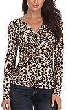 Miss Moly Damen Sexy Oberteil Schulterfrei Bluse Langarm Shirt Elegant Leopard Print - S