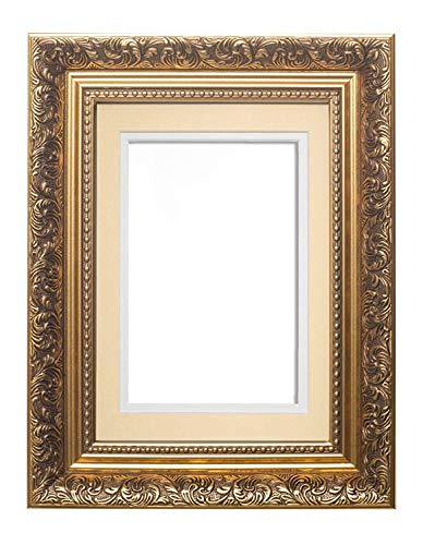 Cadre doré avec double monture ivoire sur blanc – Cadre photo carré, style baroque français – 43,2 x 43,2 cm pour 38,1 x 38,1 cm 43 x 43 cm pour 38,1 x 43,2 cm pour les photos de 38,1 x 38,1 cm