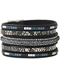 MagiDeal Retro Charms Wide Leather Cuff Bracelet Bangle Crystal Women Girls Wrist Band