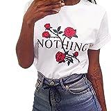LILICAT Damen Sommer T-Shirt Nothing Blume bedruckt Rosen Druck Frauen Lose Tops Kurzarm Bluse (Weiß, M)