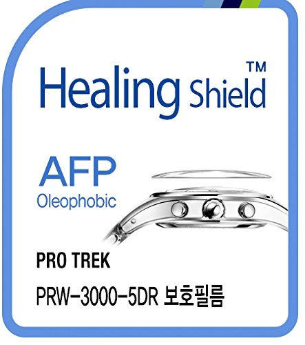 Healing shield Protectores de Pantalla Oleophobic AFP Clear Film for Casio Watch Protrek PRW-3000-5DR [Front 2pcs]