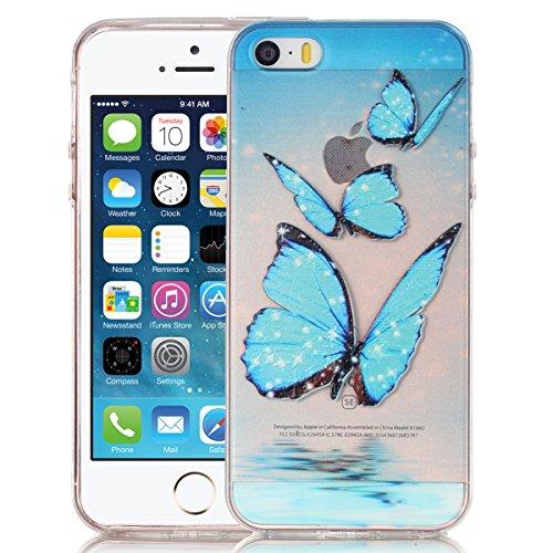 SMARTLEGEND Gel di Silicone Cover per iPhone 5 5S SE, Disegni Sollievo Toccare TPU Morbido Custodia, Ultra Sottile Transparente Flessibile Durevole Case Copertina - Tre Farfalla Blu