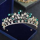 XPY&DGX Bridal Hochzeit Ballsaal Haarnadel Haarschmuck,Braut-Kopfschmuck europäischen Retro Königin große Krone Ohrringe Knoten Hochzeitskleid Zubehör Haarschmuck, grüne Krone