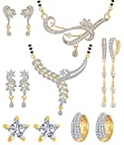 Jewels Galaxy White Gold-Plated 2 Mangalsutra Earrings Set & 3 Earrings - Combo Of 5 For Women