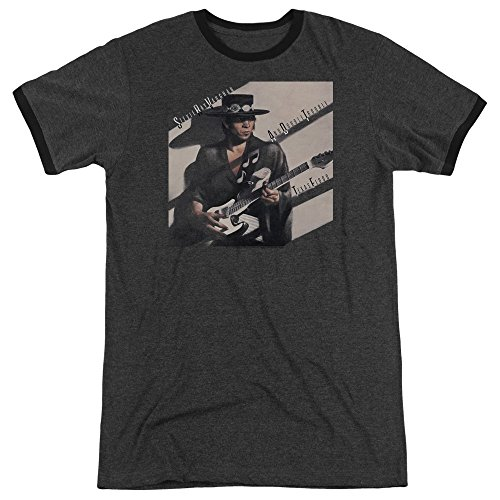 Stevie Ray Vaughan - - Männer Texas Flood Ringer T-Shirt, XXX-Large, Charcoal -