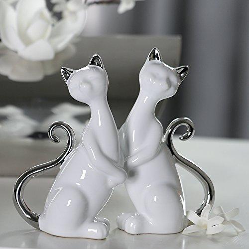 Figur Katze Milly Keramik weiß/glasiert silbernem Schwanz/Ohren stehend B 10 cm, Skulptur, Deko, Tier (Kopf neigt nach links (links)) (Keramik Katze Figur Glasiert)