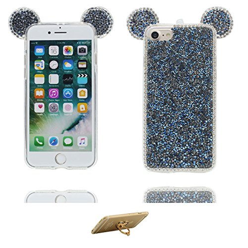 "Hülle iPhone 6 6s Cover 3D Cartoon Maus Ohr, Light Slim Diamonds Bling Bead Transparent iPhone 6 Handyhülle 4.7"", iPhone 6S case 4.7"" Kratzer beständig und Ring Ständer Fashionable # 1"