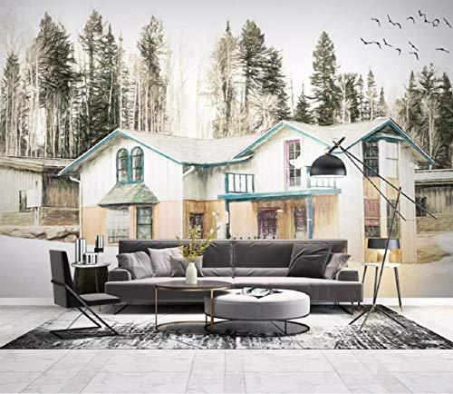 Fototapete 3D Effekt Tapete Einfache Hintergrund Wand Handgemalten Wald Holzhaus Architektur, Landschaft Vliestapete 3D Wallpaper Moderne Wanddeko Wandbilder