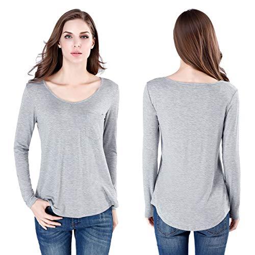 wirarpa Langarmshirts Damen Casual Elegante Tunika Top Basic Shirt V-Ausschnitt mit Tasche Grau S -