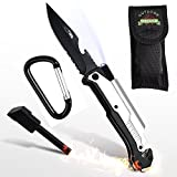 Outdoor Freakz Survival Messer und Klappmesser 6-in-1: LED + Feuerstahl + Gurtschneider + Glasbrecher + Flaschenöffner - Waffengesetz Frei