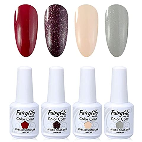 FairyGlo 4 Color Gelpolish Nail Polish UV LED Soak Off Gel Manicure Beauty Varnish Nail Art Kit Gift Set Base Top 15ml 102