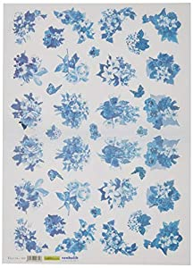 Renkalik renkalikqsipr19635x 50cm Fiori BLU Seda impresión Hoja de Papel (Juego de)