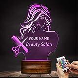 ZCLD Brauch Ihr Name Moderne 3D Nachtlicht Schönheitssalon Mode Dame LED Licht Friseur Friseur Schere Kamm Tischlampe