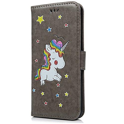 Cover iPhone 7 8 Pelle, E-Unicorn Custodia Apple iPhone 7 8 Pelle Portafoglio Flip Cover a Libro Rosso Unicorno Modello Disegno Brillantini Glitter Case [Supporto Stand][Slot per Schede] TPU Silicone  Grigio