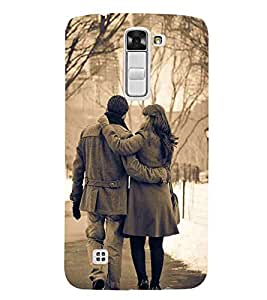For LG K7 :: LG K7 Dual SIM :: LG K7 X210 X210DS MS330 :: LG Tribute 5 LS675 couple on tree ( couple on tree, couple, tree, vector, mountain ) Printed Designer Back Case Cover By TAKKLOO